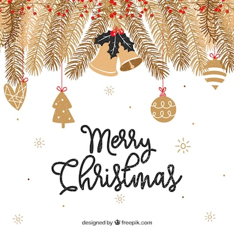 Christmas background with golden branches
