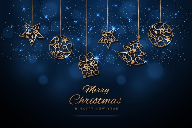 Christmas background with a golden christmas elements