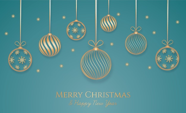 Christmas background with golden decoration