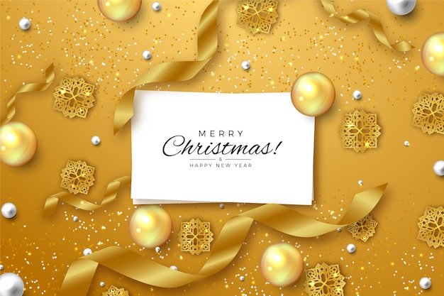 Christmas background with golden glitter effect