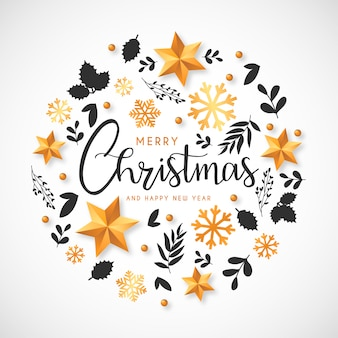 Christmas background with golden ornaments and hand drawn leaves