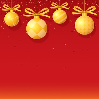 Christmas background with golden ornaments