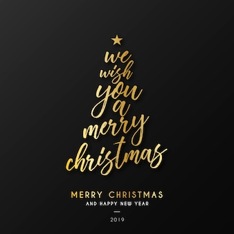 Christmas Background with Golden Quote