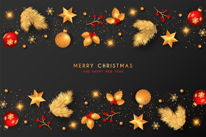 Christmas background with golden & red decoration
