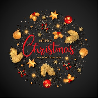 Christmas background with golden and red ornaments