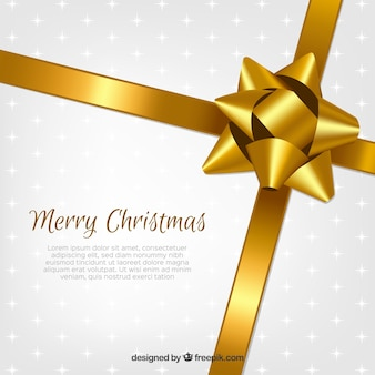 Christmas background with golden ribbons