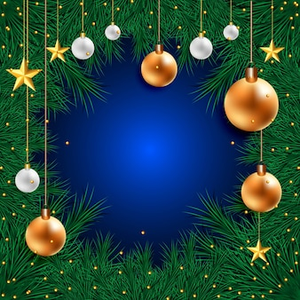 Christmas background with golden and silver christmas balls and christmas tree frame