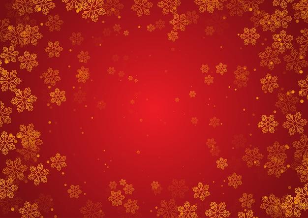金色の雪片のデザインとクリスマスの背景