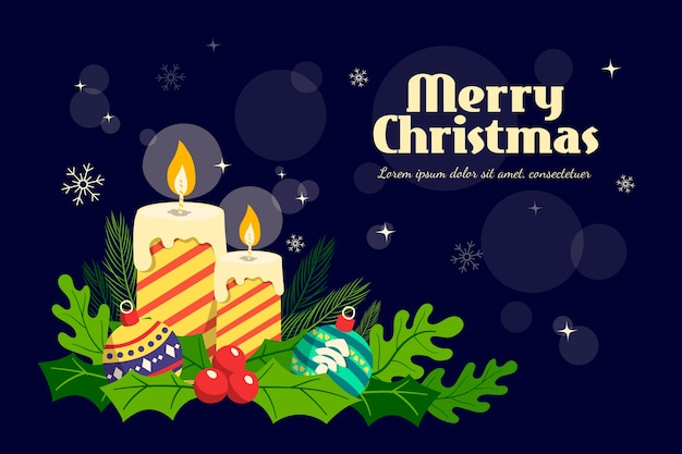 Christmas background with hand drawn candles