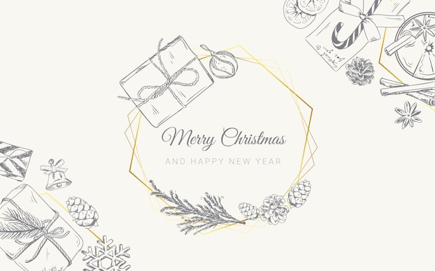 Christmas background with hand drawn doodle gifts
