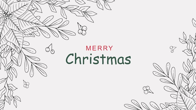Christmas background with hand drawn holly leaves a