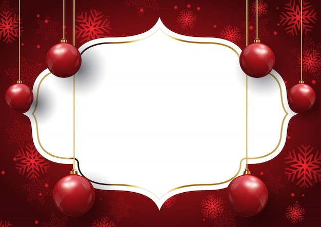 Christmas background with hanging baubles on blank label