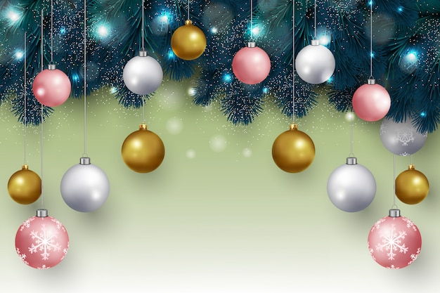 Christmas background with hanging christmas balls and fir branches design vector