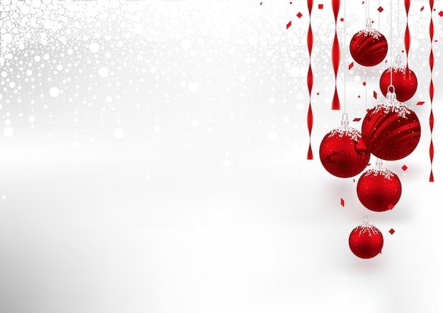 Рождественский фон с висячими красными шарами