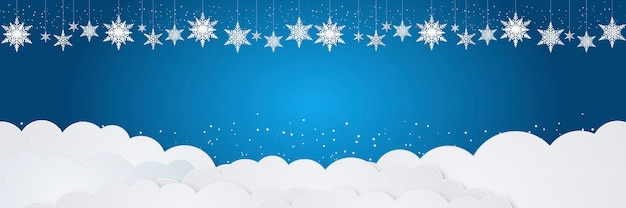 Christmas background with hanging snowflakes ornaments, falling snow, and white cloud on blue background