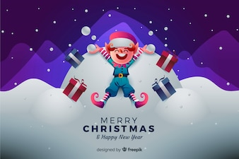 Christmas background with happy elf