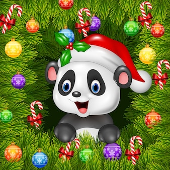 Christmas background with happy panda bear