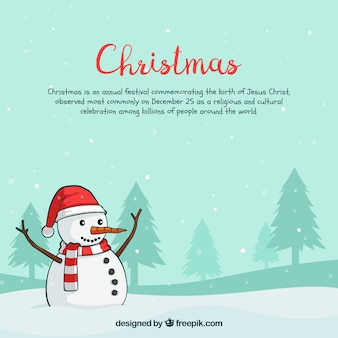 Christmas background with happy snow man