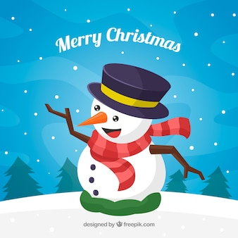 Christmas background with happy snowman