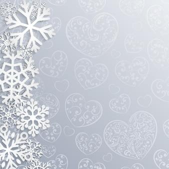 心と雪の結晶のクリスマス背景