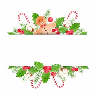 Christmas background - with holly berries and leaves, ginger bread, cotton flower, pine leaves and candy cane