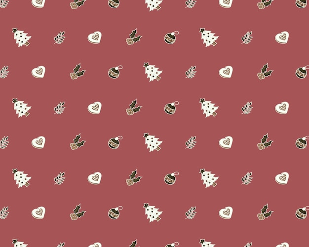 Christmas background with icon pattern