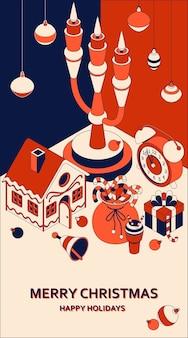等尺性のかわいいおもちゃとクリスマスの背景。燭台とジンジャーブレッドハウス
