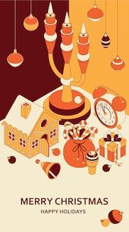 Новогодний фон с изометрическими милыми игрушками. канделябр и пряничный домик