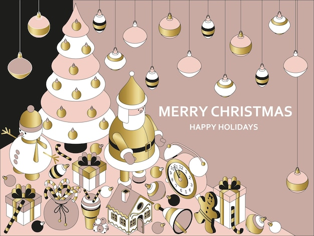 Новогодний фон с изометрическими милыми игрушками. забавный санта и пряничный домик. рождественское приветствие концепция