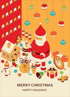 Новогодний фон с изометрическими милыми игрушками. забавный санта и пряничный домик