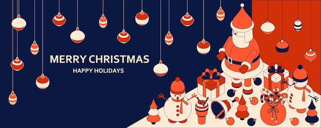 Новогодний фон с изометрическими милыми игрушками. веселый санта и шоумены. рождественская открытка