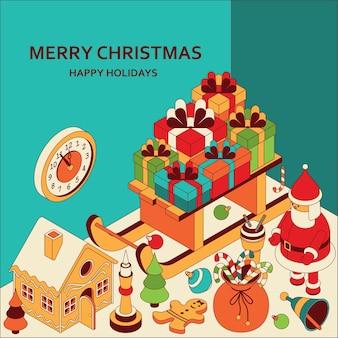 Новогодний фон с изометрическими милыми игрушками. сани с подарками и пряничный домик. рождественское приветствие