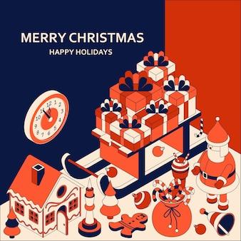 Новогодний фон с изометрическими милыми игрушками. сани с подарками и пряничный домик