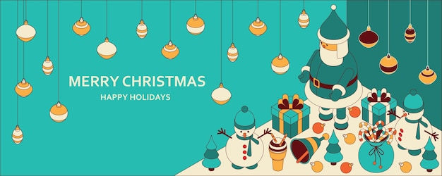 Christmas background with isometric cute toys.