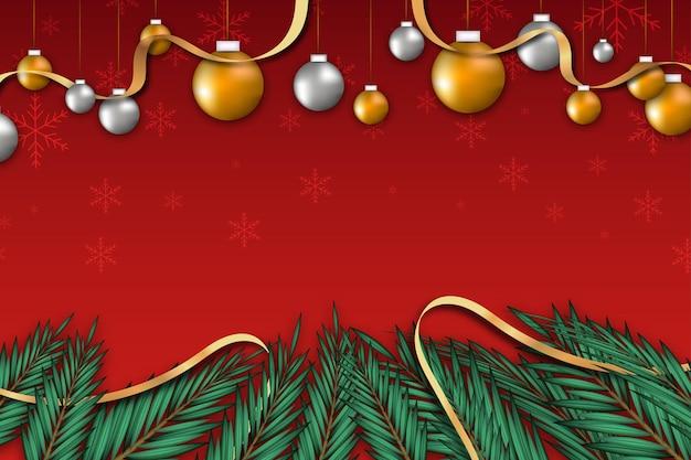 잎 리본 및 공 크리스마스 배경