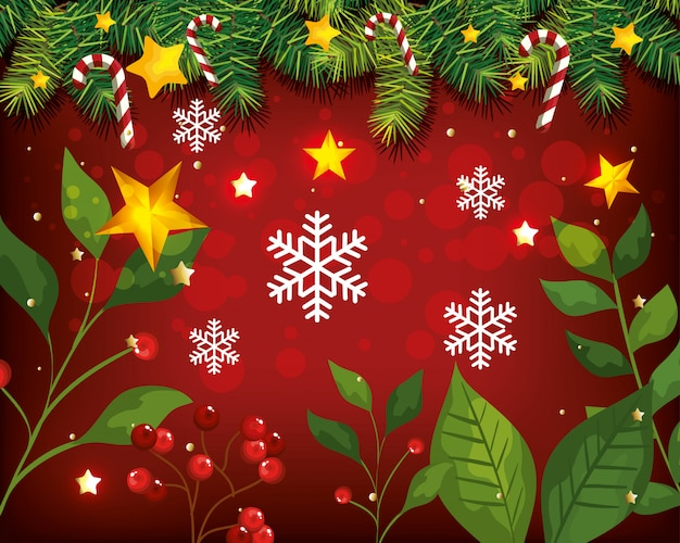 Christmas background with leafs and decoration