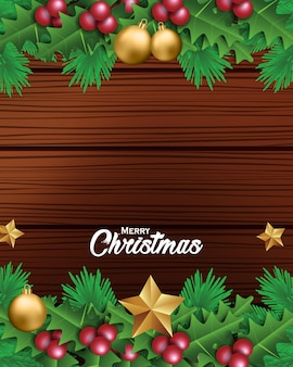 Christmas background with a leaves and christmas decorations in wood background