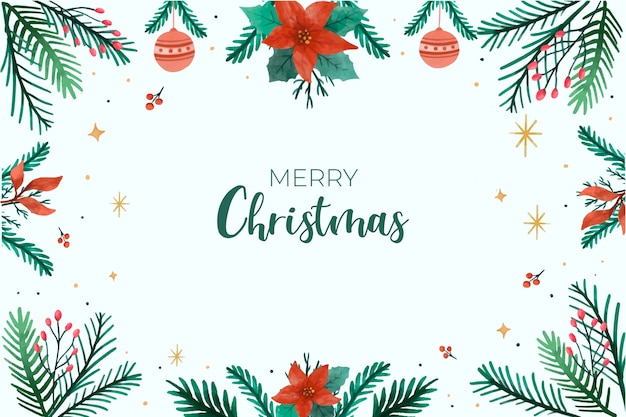 Christmas background with leaves frame