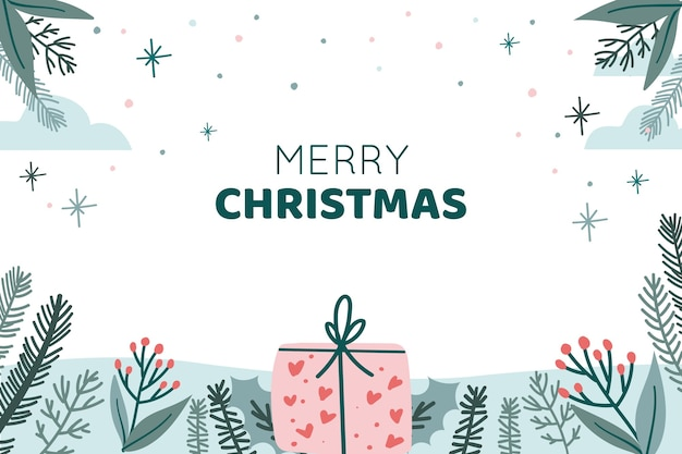 Christmas background with leaves, plants and present