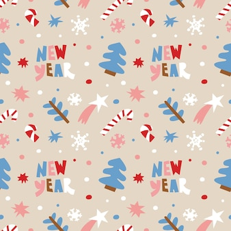 レタリング、紙吹雪、キャンディー杖、雪片、クリスマスツリーと星とクリスマスの背景。