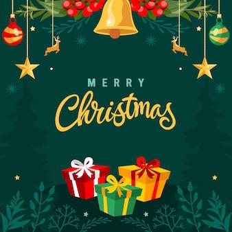 レタリングとクリスマスの背景