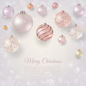Christmas background with light Christmas baubles