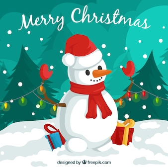 Christmas background with lovely snow man