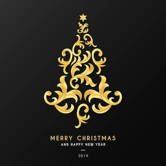 Christmas background with ornamental tree