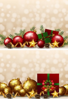 Christmas background with ornaments and presents