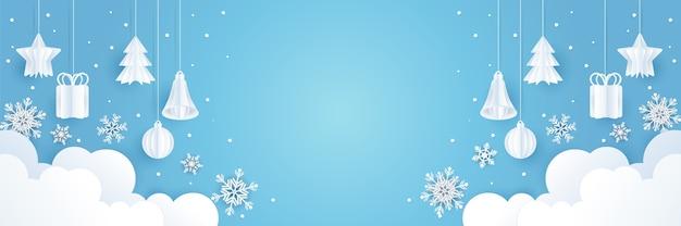 ペーパーアートデザインとクリスマスの背景