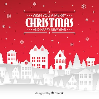 Christmas background with  papercut landscape design Free Vector