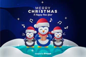Christmas background with penguins singing a carol