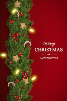 Christmas background with pine branches and berries