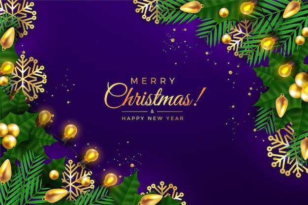 Рождественский фон с листьями сосны и новогодними шарами